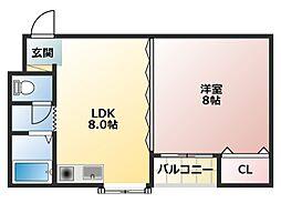 メゾンフローレンス 3階1LDKの間取り