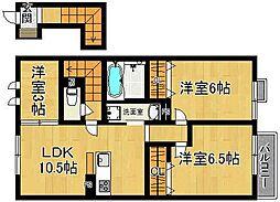 奈良県奈良市川上町の賃貸アパートの間取り