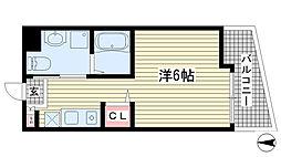 アルファ神戸元町 2階1Kの間取り