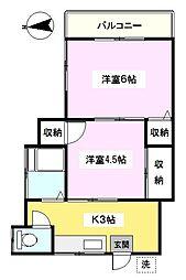 神奈川県横浜市鶴見区東寺尾北台の賃貸アパートの間取り