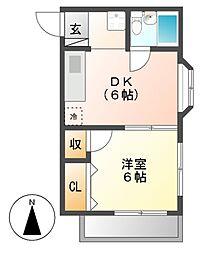 コーポ阪本[4階]の間取り