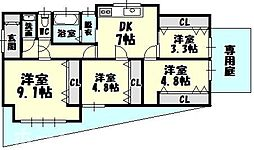 [一戸建] 福岡県糟屋郡志免町王子1丁目 の賃貸【/】の間取り