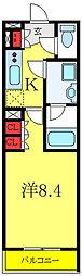 ベルシード板橋ノース 4階1Kの間取り