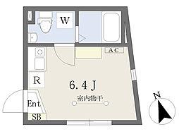D-BASE北千住 2階ワンルームの間取り