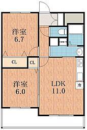 エスタブレ・ヤマキ[4階]の間取り