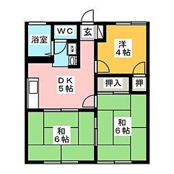アムール秋山A 1階3DKの間取り