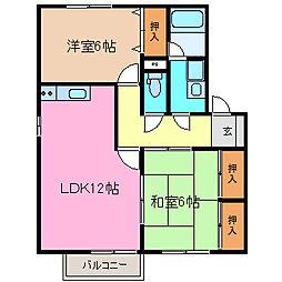 メゾンクレストA・B[B202号室号室]の間取り