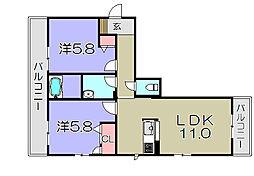 ラヴィエール・フナハシ 2階2LDKの間取り