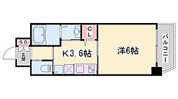 ワールドアイ神戸湊町 7階1DKの間取り