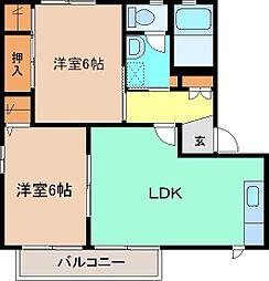 セゾンフローラ E 2階2LDKの間取り