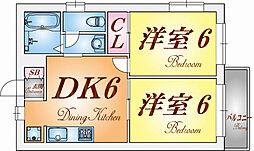 兵庫県神戸市須磨区若木町3丁目の賃貸アパートの間取り