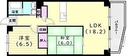 サンパティ西宮 6階2LDKの間取り