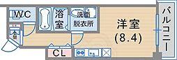 JR東海道・山陽本線 神戸駅 徒歩12分の賃貸マンション 6階ワンルームの間取り