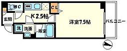 リッツスクエアルイシャトレ 2階1Kの間取り