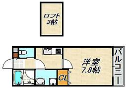 ワコーレヴィアーノ須磨寺町 2階1SKの間取り