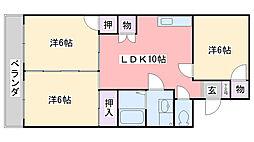 福岡県福岡市西区周船寺2丁目の賃貸マンションの間取り