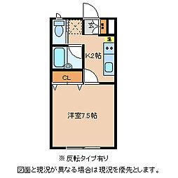 JR中央本線 下諏訪駅 徒歩22分の賃貸アパート 1階1Kの間取り
