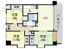 阪急千里線 南千里駅 徒歩15分の賃貸マンション 3階3LDKの間取り