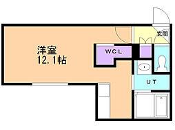 テラン厚別 2階ワンルームの間取り