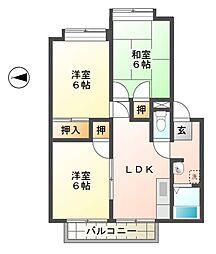 滋賀県東近江市建部日吉町の賃貸アパートの間取り