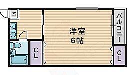 レヂデンスパート1 2階1DKの間取り