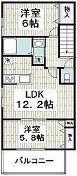 (仮称)平戸町メゾンA棟 2階2LDKの間取り