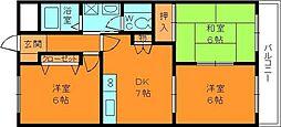 奈良県生駒郡安堵町大字東安堵の賃貸マンションの間取り