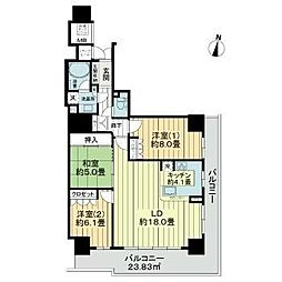 仙台市営南北線 勾当台公園駅 徒歩3分の賃貸マンション 11階3LDKの間取り