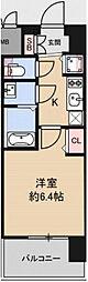 アドバンス大阪グロウス 4階1Kの間取り