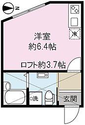 ワンカルテット永山 2階1Kの間取り