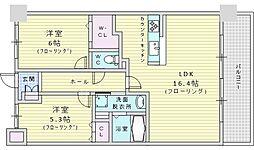 Welina江坂 3階2LDKの間取り