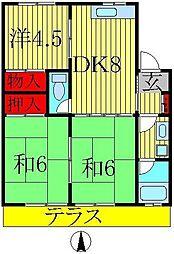 コーポKIKU B棟[101号室]の間取り