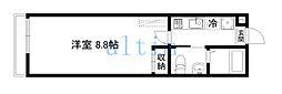 アークリード本町三十三間堂 1階1Kの間取り