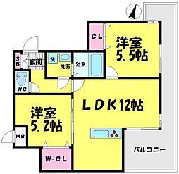 WOB京橋 10階2LDKの間取り