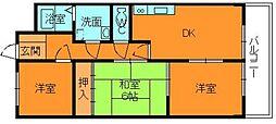 奈良県香芝市旭ケ丘1丁目の賃貸マンションの間取り
