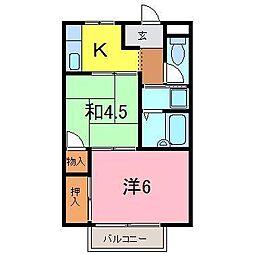 岡崎市 フェイスきたの[205号室]の間取り