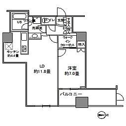 カスタリアタワー品川シーサイド 18階1LDKの間取り