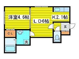 北海道札幌市東区北十九条東15丁目の賃貸マンションの間取り