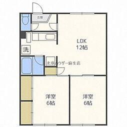 明美荘 3階2LDKの間取り
