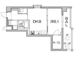 京都市営烏丸線 北大路駅 徒歩26分の賃貸マンション 4階1LDKの間取り