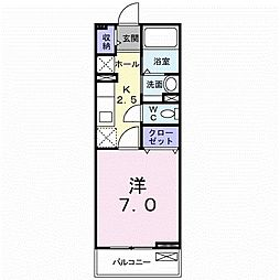 JR山陽本線 下関駅 徒歩15分の賃貸アパート 2階1Kの間取り