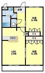 愛知県豊田市若林西町向屋敷の賃貸アパートの間取り