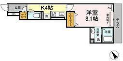 横浜市営地下鉄グリーンライン 中山駅 徒歩9分の賃貸アパート 1階1Kの間取り