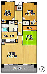 兵庫県三田市狭間が丘5丁目の賃貸マンションの間取り