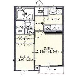東武伊勢崎線 茂林寺前駅 徒歩12分の賃貸アパート 1階1LKの間取り