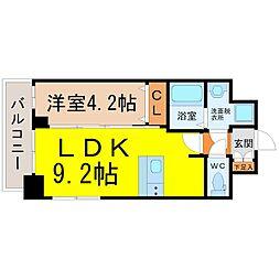 ファステート名古屋ラプソティ 4階1LDKの間取り