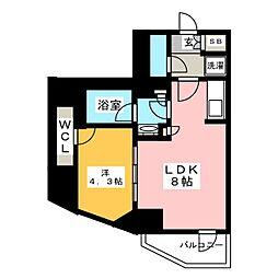 Brillia ist 元浅草 6階1LDKの間取り