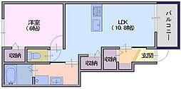 サンガーデンM3 1階1LDKの間取り