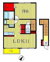 パインヒルズB[2階]の間取り