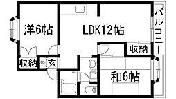ラフォーレハタ1[1階]の間取り